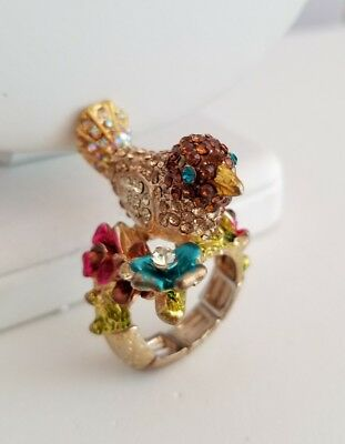 Rhinestone Bird On Flower Branch Stretch Ring Size 7.5 Unsigned Missing 1 Stone