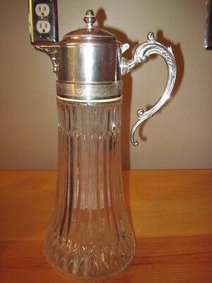 Antique Silver Italy EP Zinc Wine Water Decanter With Ice Tube