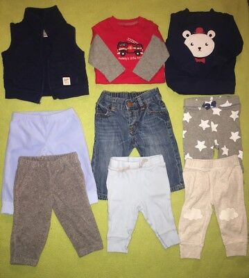 Baby boy Infant  6 & 6/9 months Fall Winter clothes lot Of 9 Carters Cat & Jack