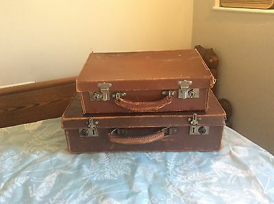 2!! vintage leather suit  cases display suitcases
