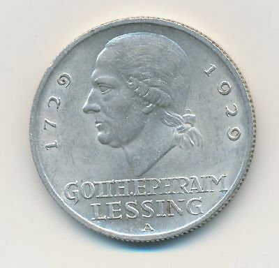 3 Reichsmark Gotthold Lessing 1929 A KM# 60