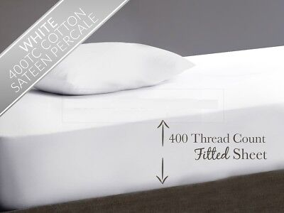 "400 Thread Count 100% Egyptian Cotton Extra Deep Fitted Sheet 16"" 40Cm Drop"