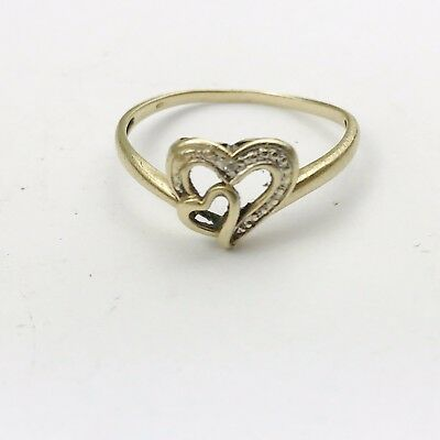 VINTAGE SOLID 9ct GOLD LOVE HEART DIAMOND LADIES RING SIZE Q