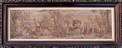 Beautiful Framed Antique Vintage French Tapestry, Over 4ft Long in Lovely Frame