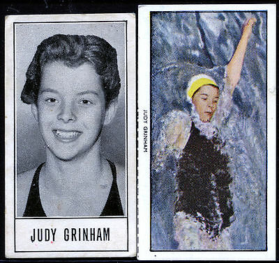 Trade Cards - Judy Grinham - Olympic Swimming Gold Medalist .