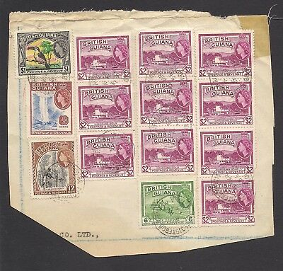 BRITISH GUIANA  1954-63  stamps used on registered piece.  FU