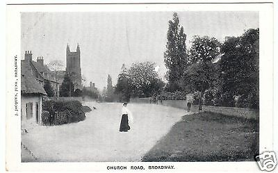 BROADWAY - Church Road - by J Jacques Jnr - Worcestershire - c1900s era postcard