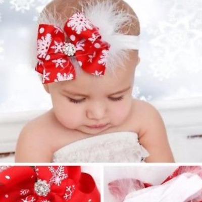 BABY /GIRLS CHRISTMAS RED WHITE FEATHER DIAMONTE SANTA  HAIRBAND for festive sea