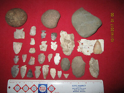 31 Assorted Style Native Points & Tools ( Chub Lake, Dodge County, Wisconsin )