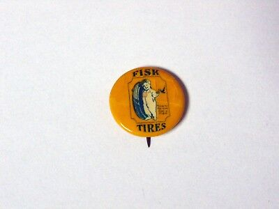 Antique Fisk Tires Pin Pinback Button Has Issues But Rare & WOW FREE SECURE S&H