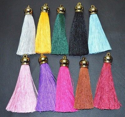 2 x Tassels with Light Gold  cap Tassel 8cm for decorative Key cushion tassels