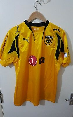Puma AEK Athens Home Football Shirt 2008 2009 Yellow Large classic pre-owned