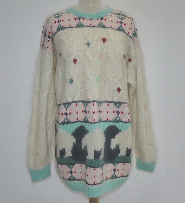 90's VINTAGE OVERSIZED CABLE KNIT POLAR BEAR FASHION JUMPER SWEATER PULLOVER L