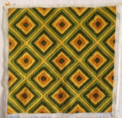 Superb Retro Vintage Abstract Long Stitch Wool Tapestry Ideal For Cushion Cover