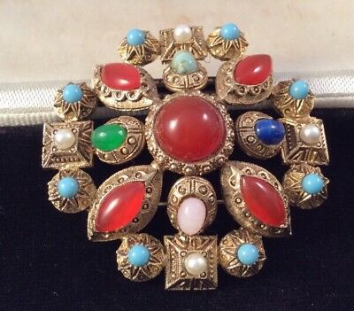 Vintage Jewellery Stunning Etruscan Jewelled Cabochon Brooch