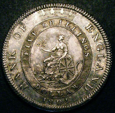 1804 GEF George III Bank of England Silver Dollar Coin ESC 144 CGS 65, MS60-MS61