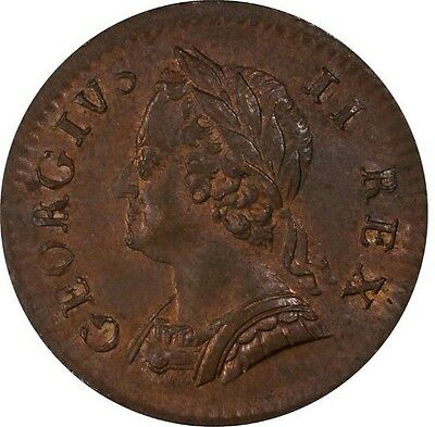 1754 AU George II British Farthing Copper Coin PCGS MS 62BN