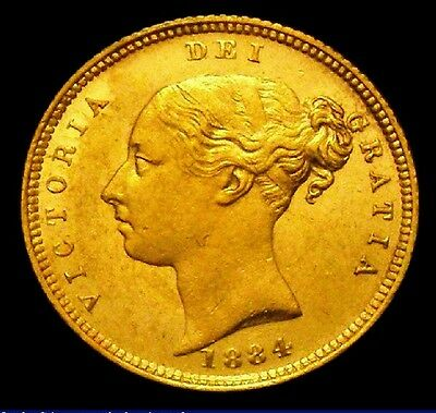 1884 GEF Victoria British Gold Half Sovereign Coin CGS 65, MS60-61