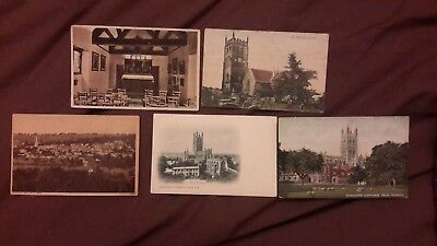 5 x Old postcards of Gloucestershire - St Briavels Church + Castle Chapel, Pains