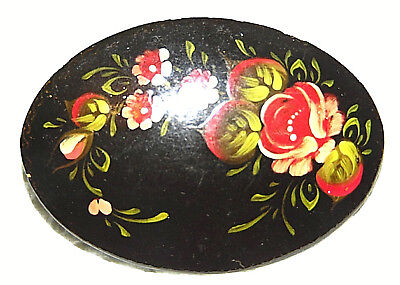 Vintage  Russian Floral Hand Painted Laquer Pin Brooch
