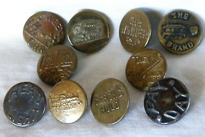 Bb OVERALL BUTTON Assortment of 10 WOBBLE SHANKS OLD