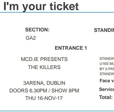 The Killers 2 Standing Tickets Dublin 3 Arena 16th November 2017 SOLD OUT