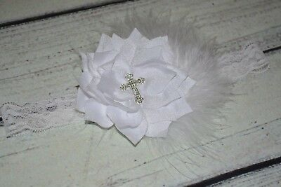 Vintage White Christening /Baptism Baby/Toddler /Girl Lace /Feather Headband