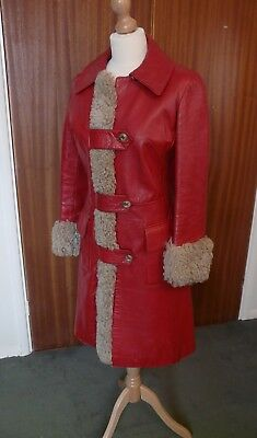 Genuine Vintage Leather Coat with Sheepskin Trim 1970s Size 10 12