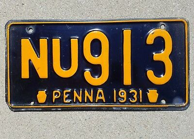 "1931 Pennsylvania License Plate ""NU 913"""