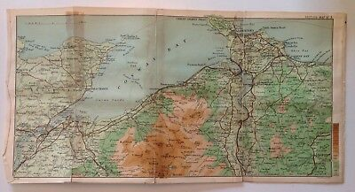 Anglesey, Bangor, North Wales, 1907,Antique Vintage Street Map, Atlas