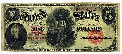 Series Of 1907 $5 Legal Tender Note Woodchopper Fr#84 Circulated No Reserve