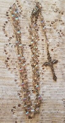 "Vintage Estate Rosary Glass  Opalescent Beads 19"" Religious Crucifix Cross Old"