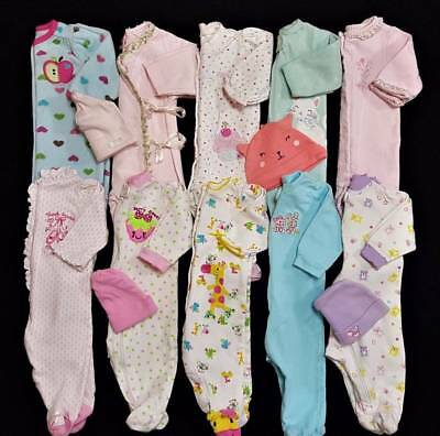 Baby Girls Size 0/3 Mos.Winter Sleepers & Hats Clothes Lot Free Ship!