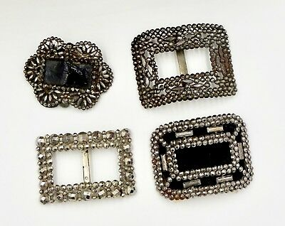 4 Antique Victorian Edwardian French Riveted Steel Cut Shoe Buckles
