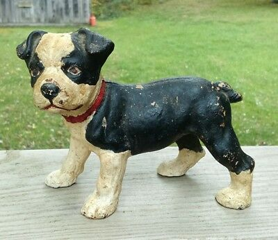Antique Hubley Boston Terrier Puppy Solid Cast Iron Small Doorstop Paperweight