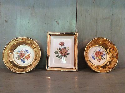 Vintage Prinknash Pottery Floral Pin Dishes Job Lot Of Three