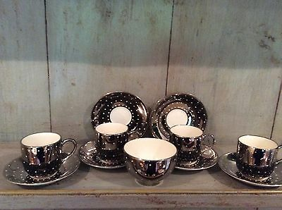 Silver 'Spotted' pattern lustre  4 Cups Saucers And Sugar Bowl Grays Pottery