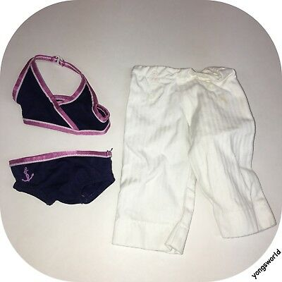 Pleasant Company American Girl 2008 2 In 1 Beach Outfit Bathing Suit Pants Lot