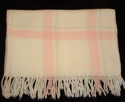 Amy Coe Pink Green White Acrylic Baby Blanket Throw Fringe Plaid Strip