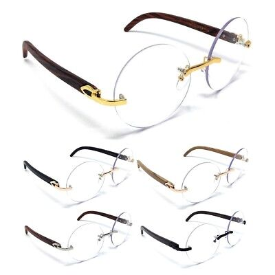 a98d62b7c9 Luxe Diplomat Rimless Round Sun Eye Glasses Clear Lenses Metal Wood Frame  Euro