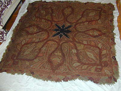 antique old vintage early paisley shawl hand woven hand embroidered