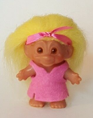 """Sweet Little Girl 3"""" WEE ONE DAM Troll Doll in Pink Dress with Yellow Hair"""