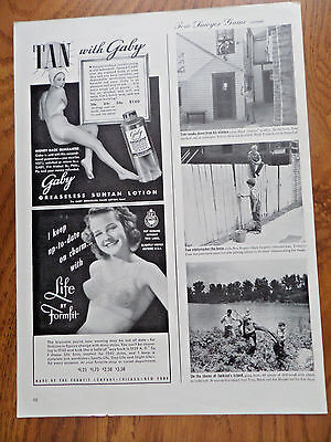 1940 Formfit Life Bra Ad Keep up to date on charm 1949 Baby Sun Tan Lotion Ad