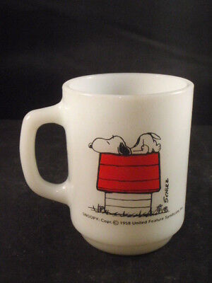 Vintage Snoopy 1958 Coffee Cup/mug Think I'm Allergic To Morning Anchor Hocking
