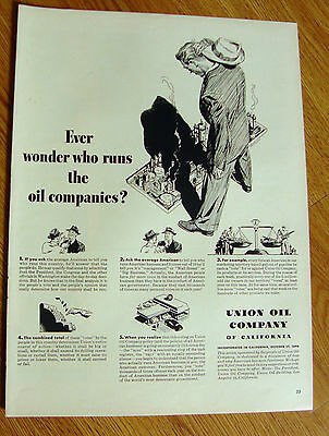1950 Union Oil Company Ad  Ever Wonder who Runs the Oil Companies?