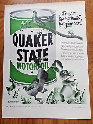 1950 Quaker State Motor Oil Ad Service Theme Finest Spring Tonic for Your Car