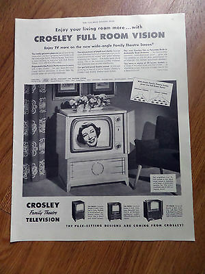 1950 TV Television Ad  Crosley Full Room Vision TVs