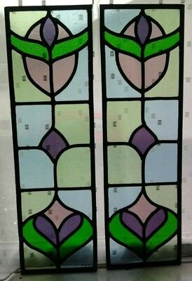 Victorian style pair of stained glass door panels