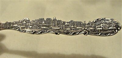 c 1901 RARE COMPLETE VIEW OF NEW YORK CITY FROM N.RIVER STERLING SILVER SPOON