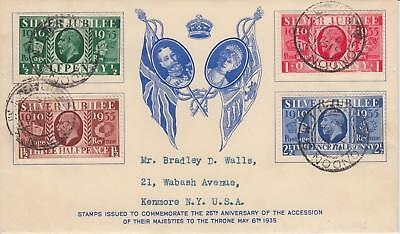 GB 1935 Silver Jubilee Westminster illust FDC to USA 100% Genuine Cat £600